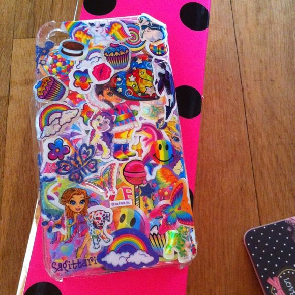 Homemade Lisa Frank sticker iphone4 phone case Cute, bright, GIRLY! Handmade by myself. Rainbows, candy, everything a girl dreams of:) used the best stickers. If anything falls off, use tape:) NO TRADES Accessories Phone Cases