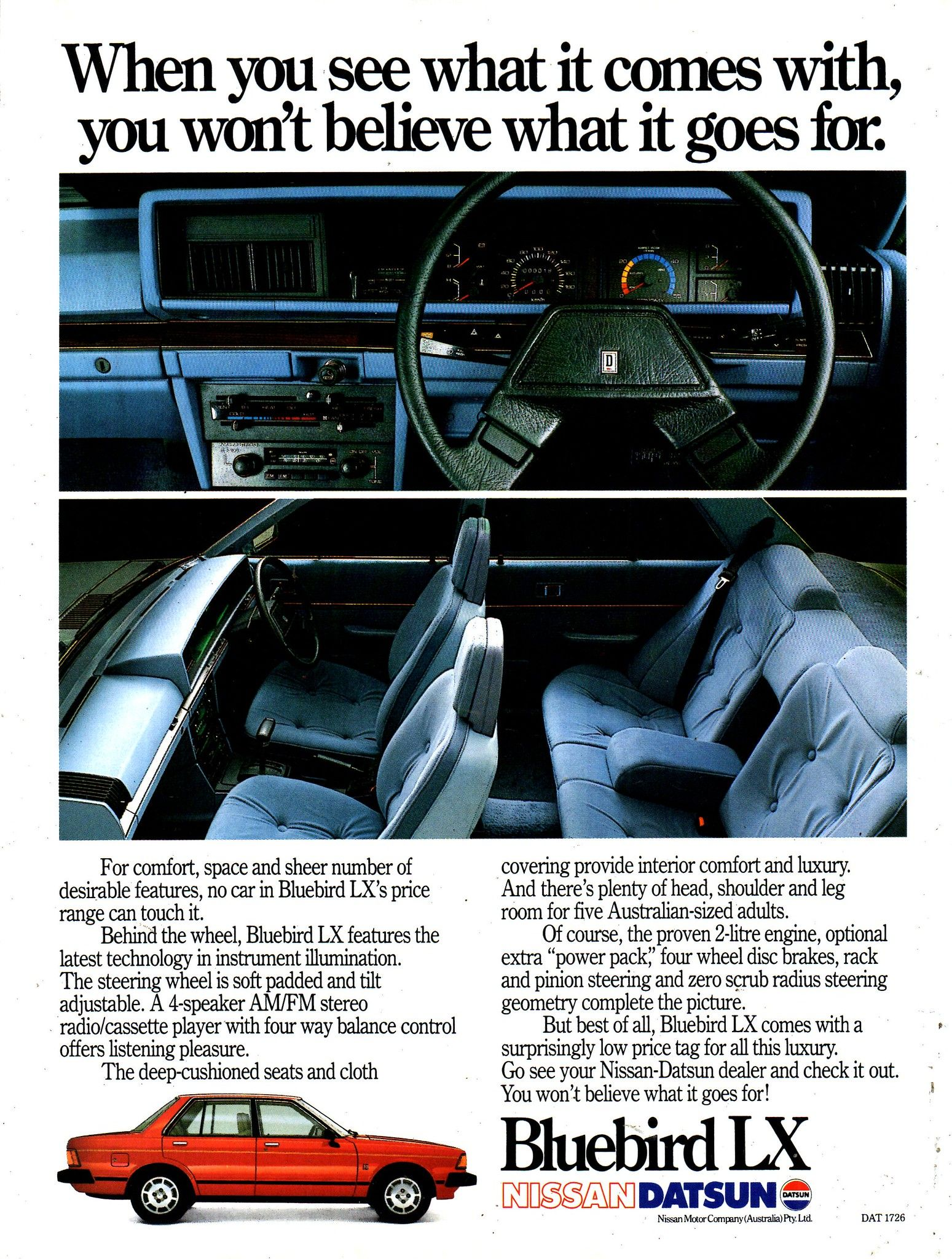 1983 Nissan Datsun Bluebird Lx Sedan Aussie Original Magazine Advertisement Datsun Datsun Bluebird Nissan