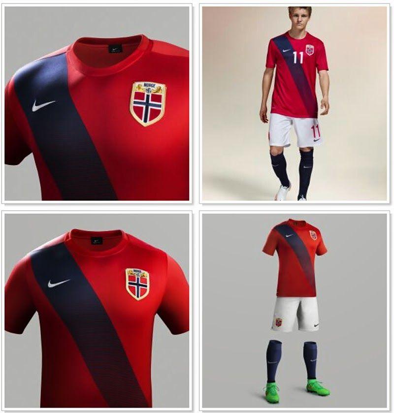 f42683b095f92 Esta es la Nueva Nike Camisetas del Noruega 2015 2016 Primera Hecho por  Nike (los primeros jamás los de Nike para el equipo de fútbol de No.