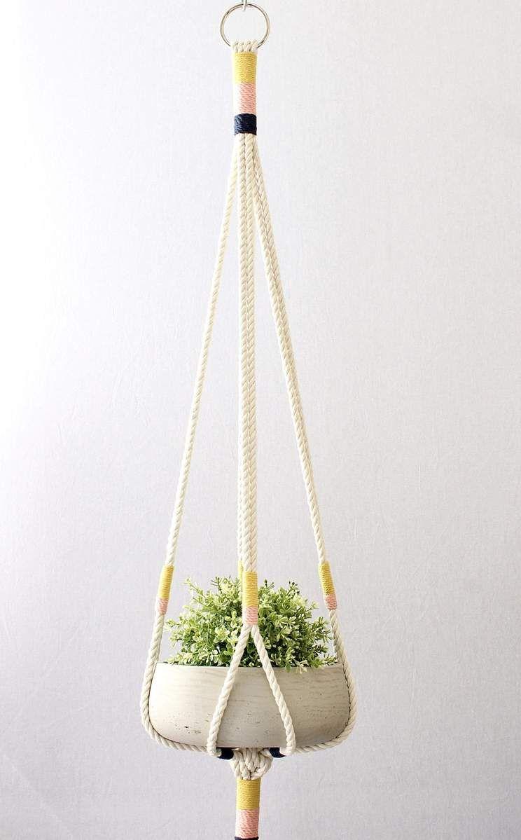 Large Color Block Macrame Hanging Planter
