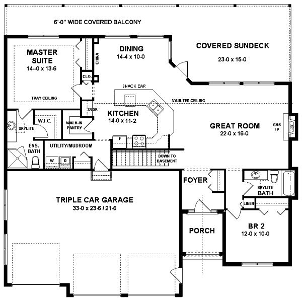 Craftsman Style House Plan 96200 with 2 Bed, 2 Bath, 3 Car Garage #craftsmanstylehomes