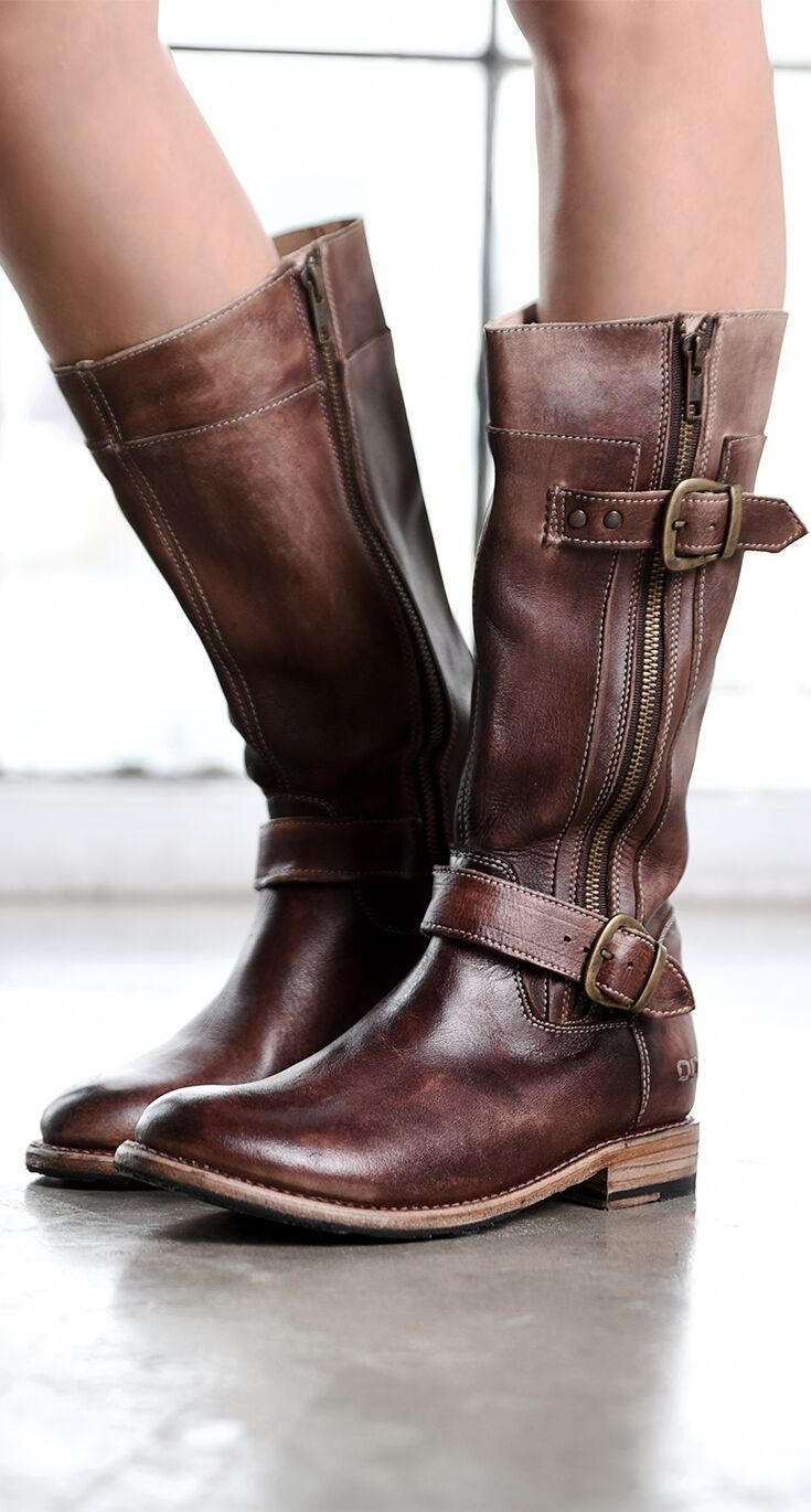 Dark Brown Leather Tall Boot By Bedstu This Cool Moto Boot Has Zippers And Buckles The Rugged Construc Boots Waterproof Leather Boots Womens Waterproof Boots