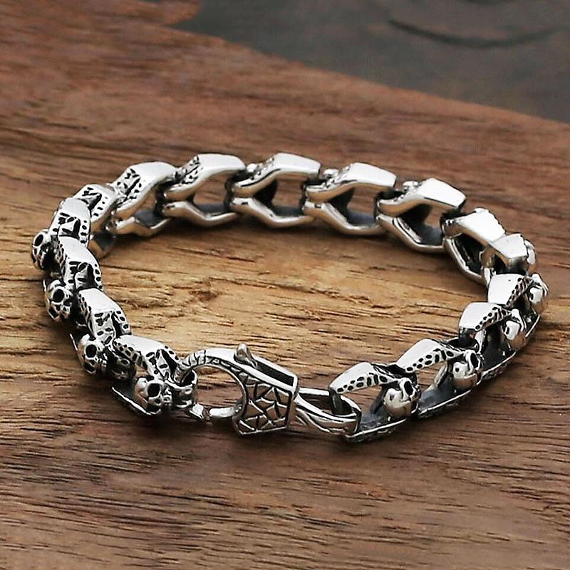 925 Sterling Silver Skulls Biker Bracelet For Men Thick 11mm 21cm Long