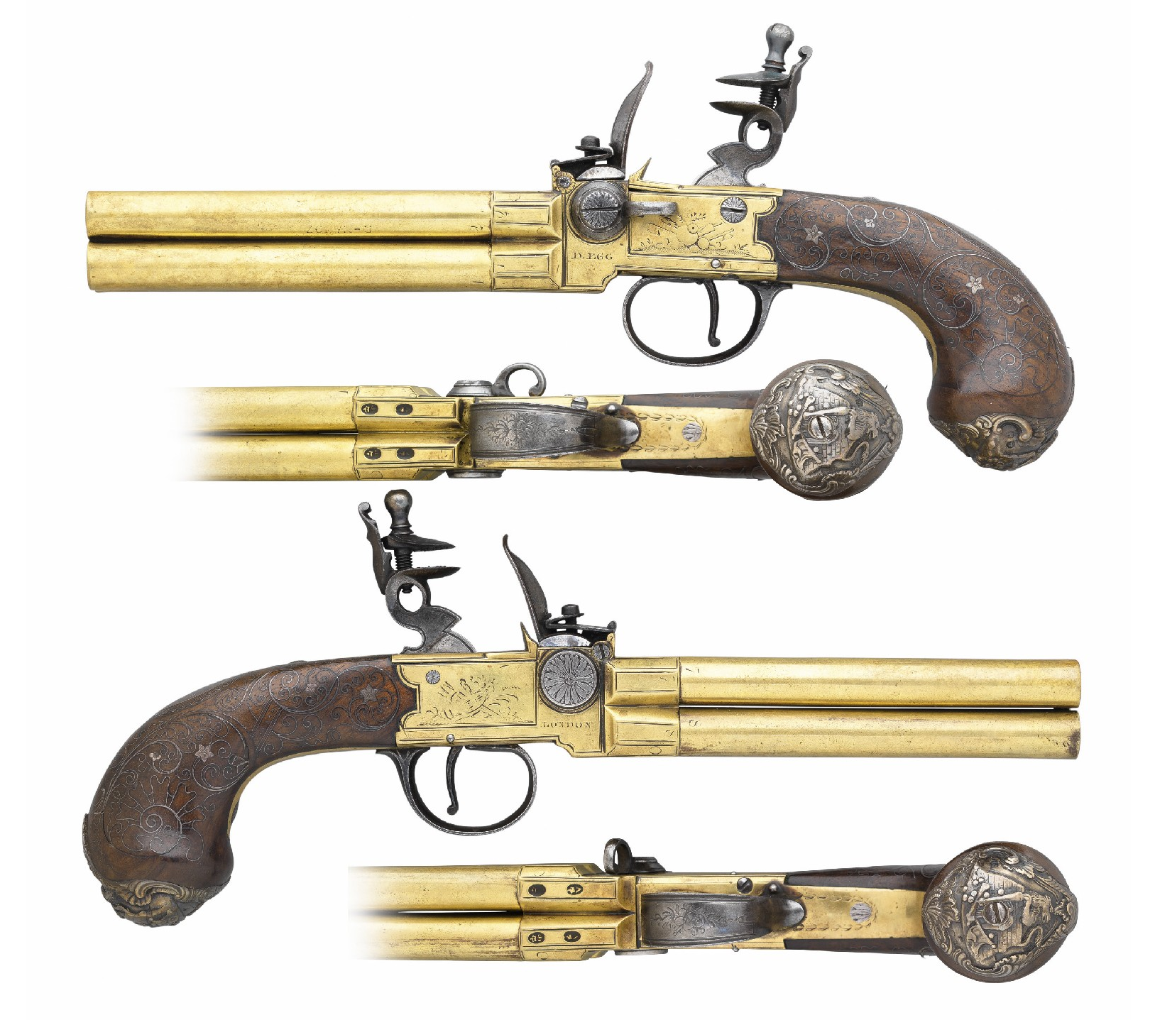 A Rare Pair Of 80 Bore Silver Mounted Four Barrelled Flintlock Tap