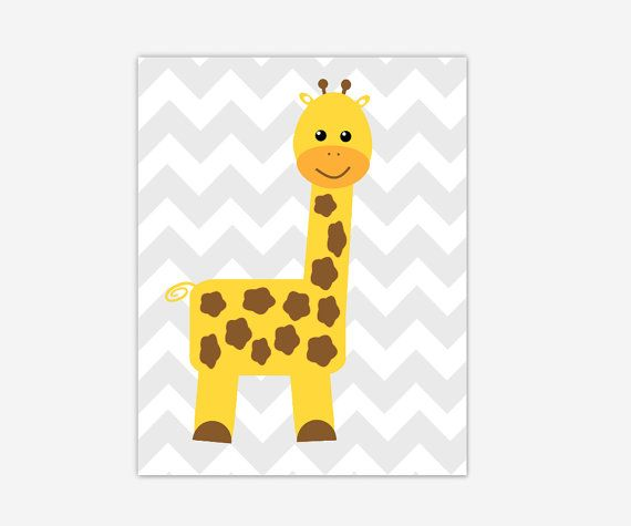 Baby Nursery Wall Art Yellow Gray Grey Giraffe Canvas Prints Baby ...