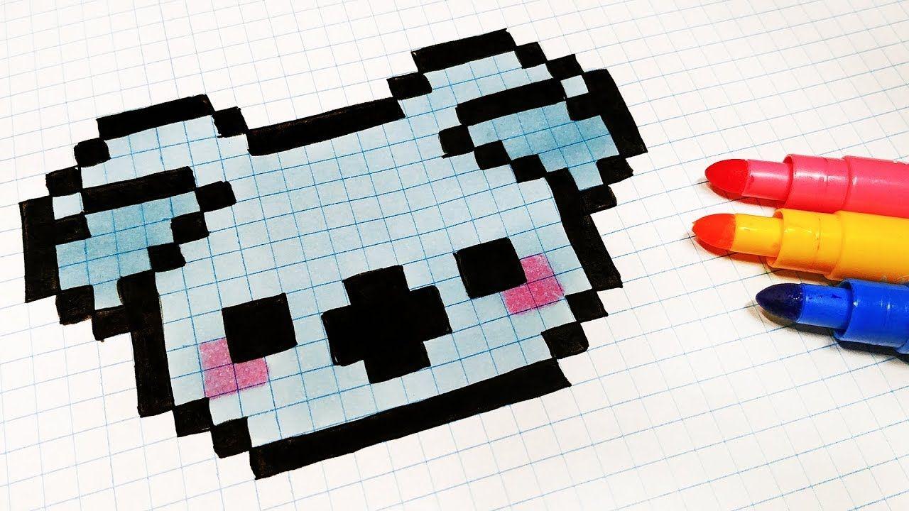 Pixel Art Hecho A Mano Cómo Dibujar Un Koala Kawaii