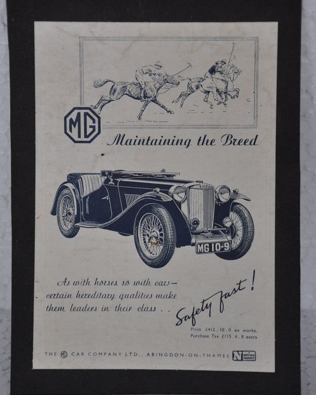 Classy Vintage Wall Decors !! Vintage MG Car Company Ad Litho Paper ...