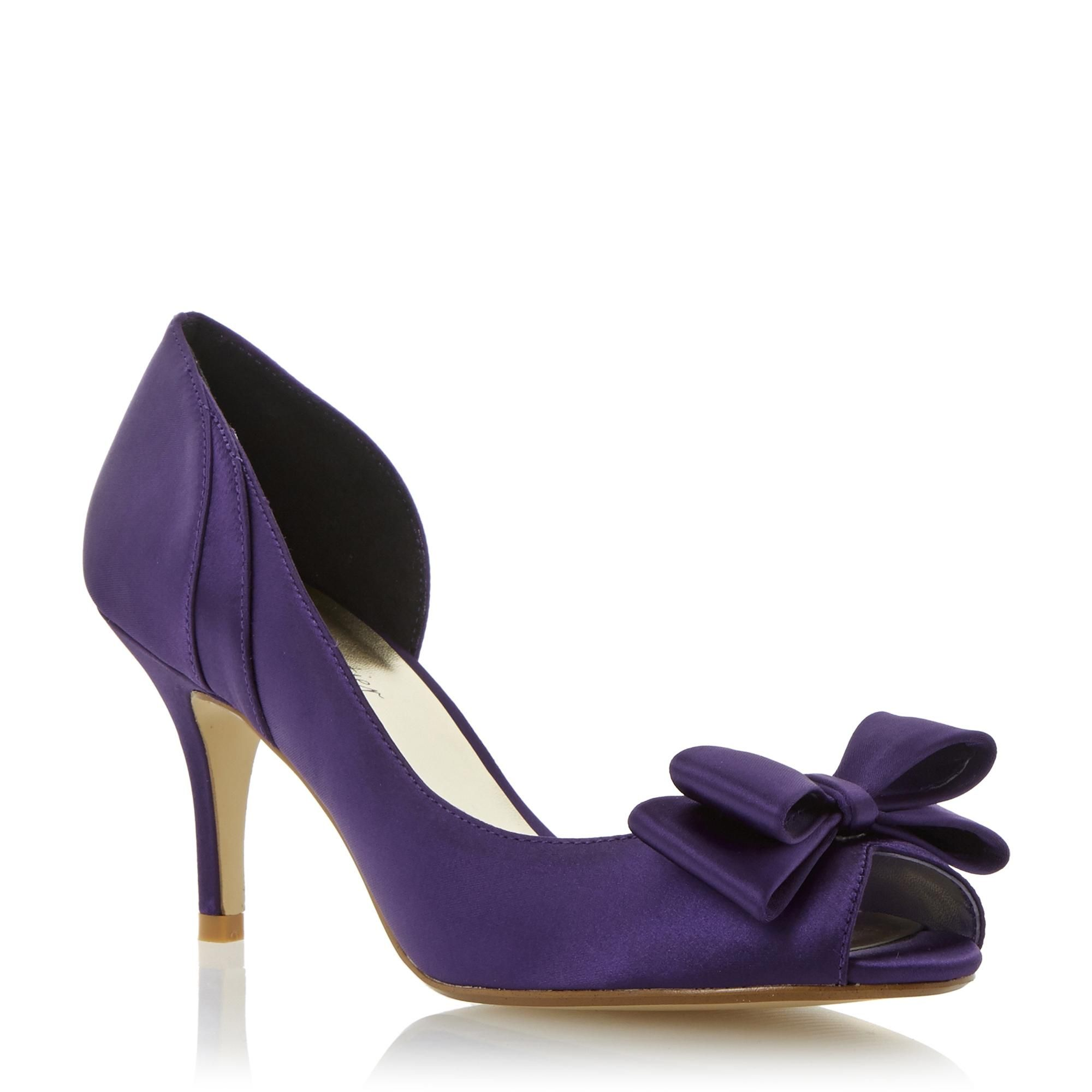 0af2fc692de9 Roland Cartier Ladies DAMIANA - Semi D orsay Peep Toe Bow Trim Court Shoe  purple