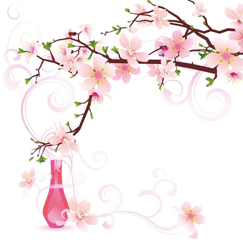 [フリーイラスト素材] イラスト, 植物, 花, 桜 / サクラ, 花瓶