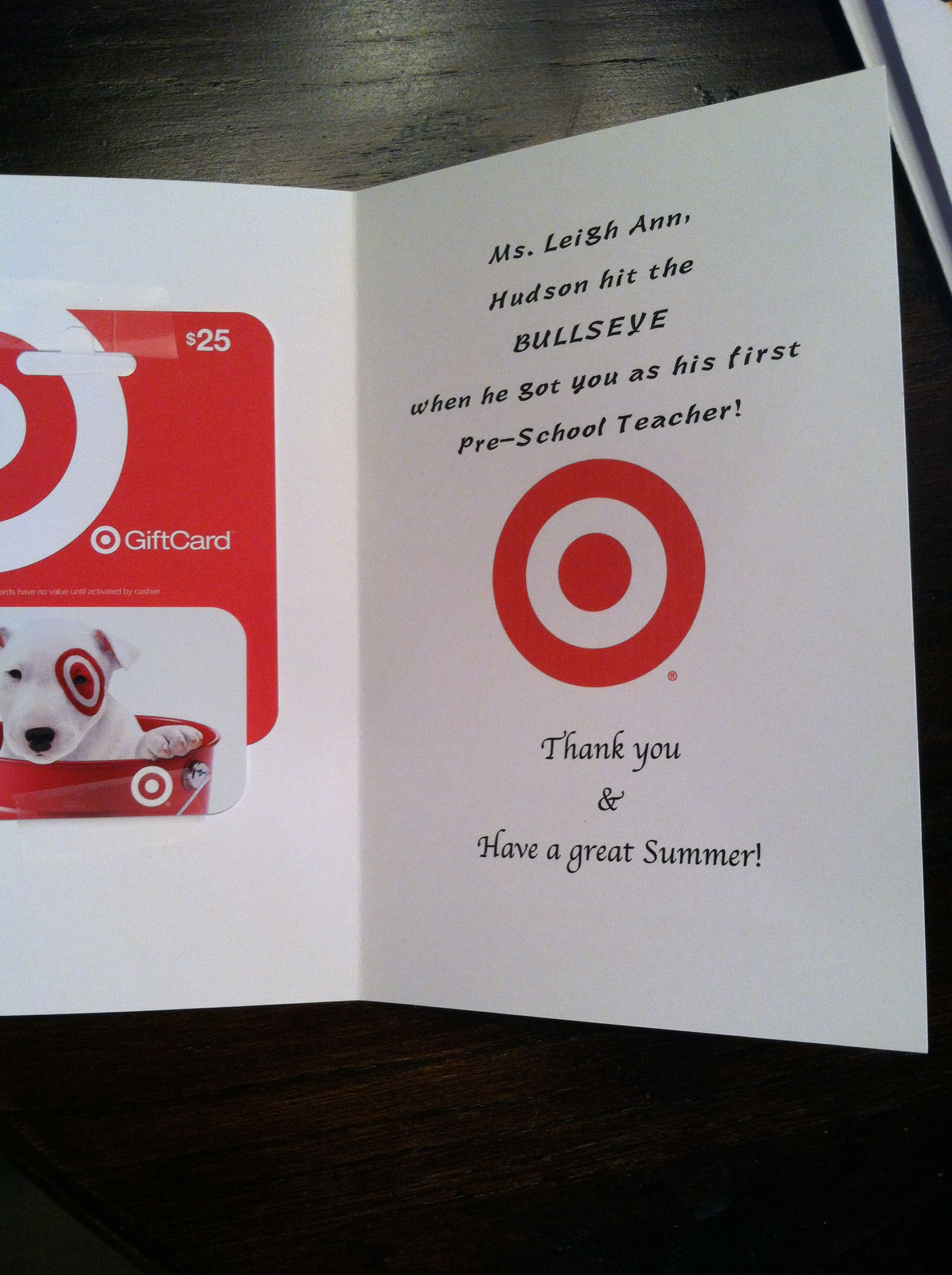 teacher gift target gift card thank you card end of