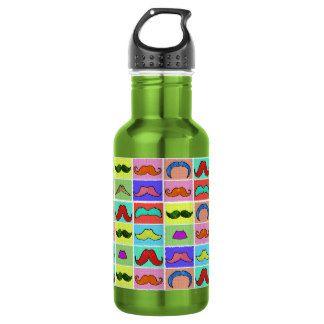 Mustahce pattern funny colorful 532 ml water bottle