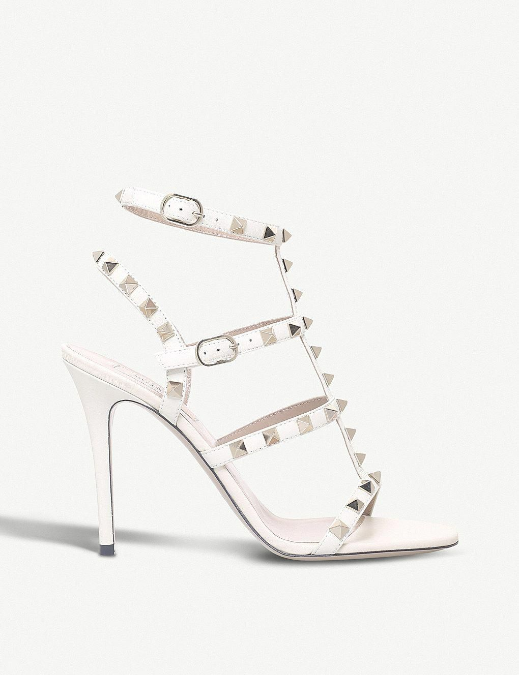 71144620eb4 VALENTINO - Rockstud 105 leather heeled gladiator sandals ...