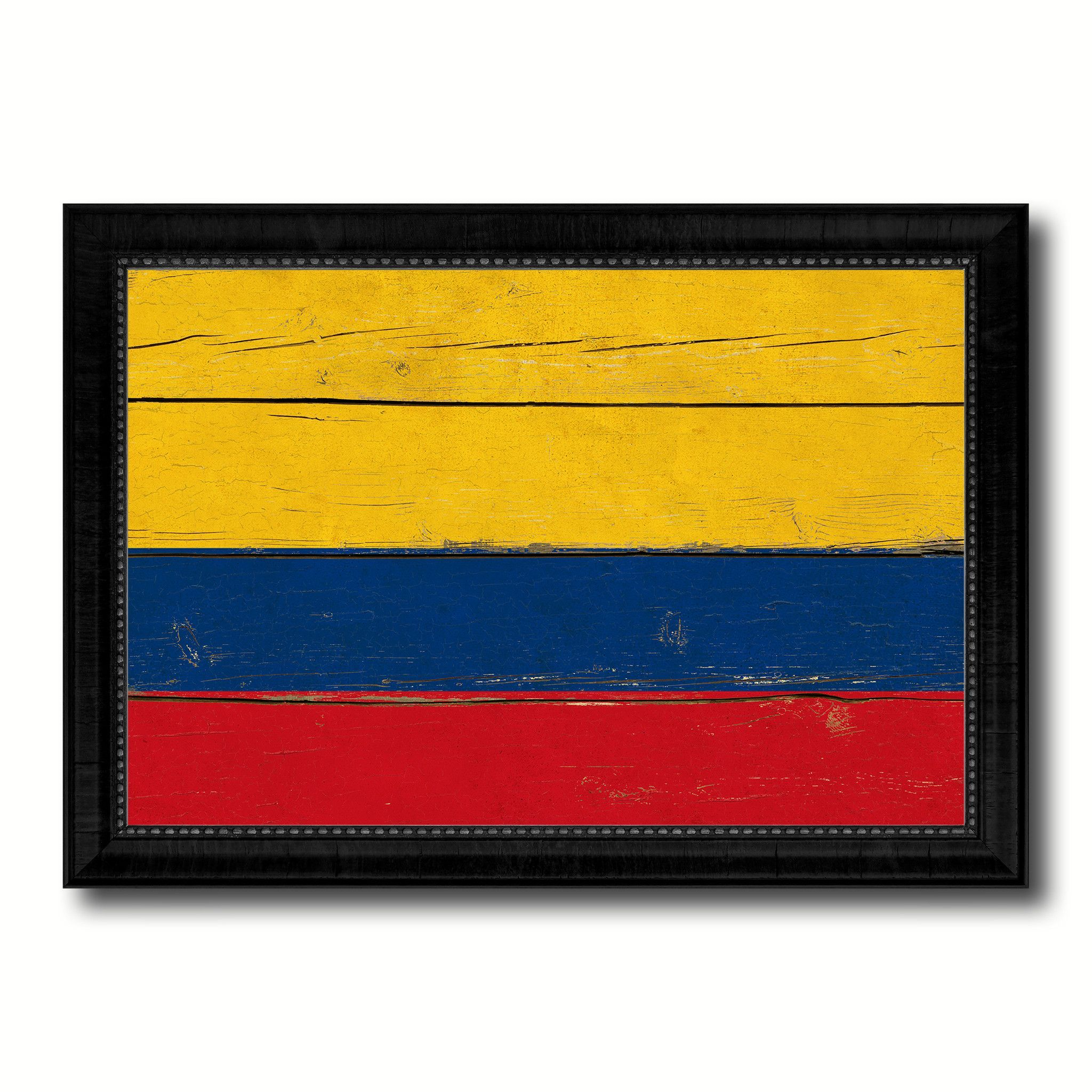 Colombia Country Flag Vintage Canvas Print with Black Picture Frame ...