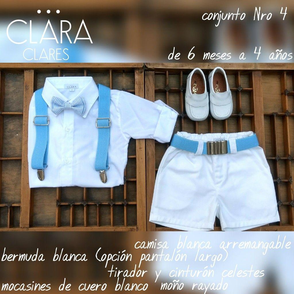 1c8738f3b Conjunto de bautismo para niño. Bermuda. Camisa. Calzado de cuero. Moño.  Tirador. Cinturón. Ropa de bautismo para varón en Argentina.