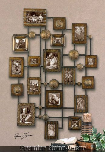 Old World Tuscan Collage Photo Frames Hammered Metal Finish Distressed Metal Wall Art Decor Frame Wall Decor Metal Wall Art Diy