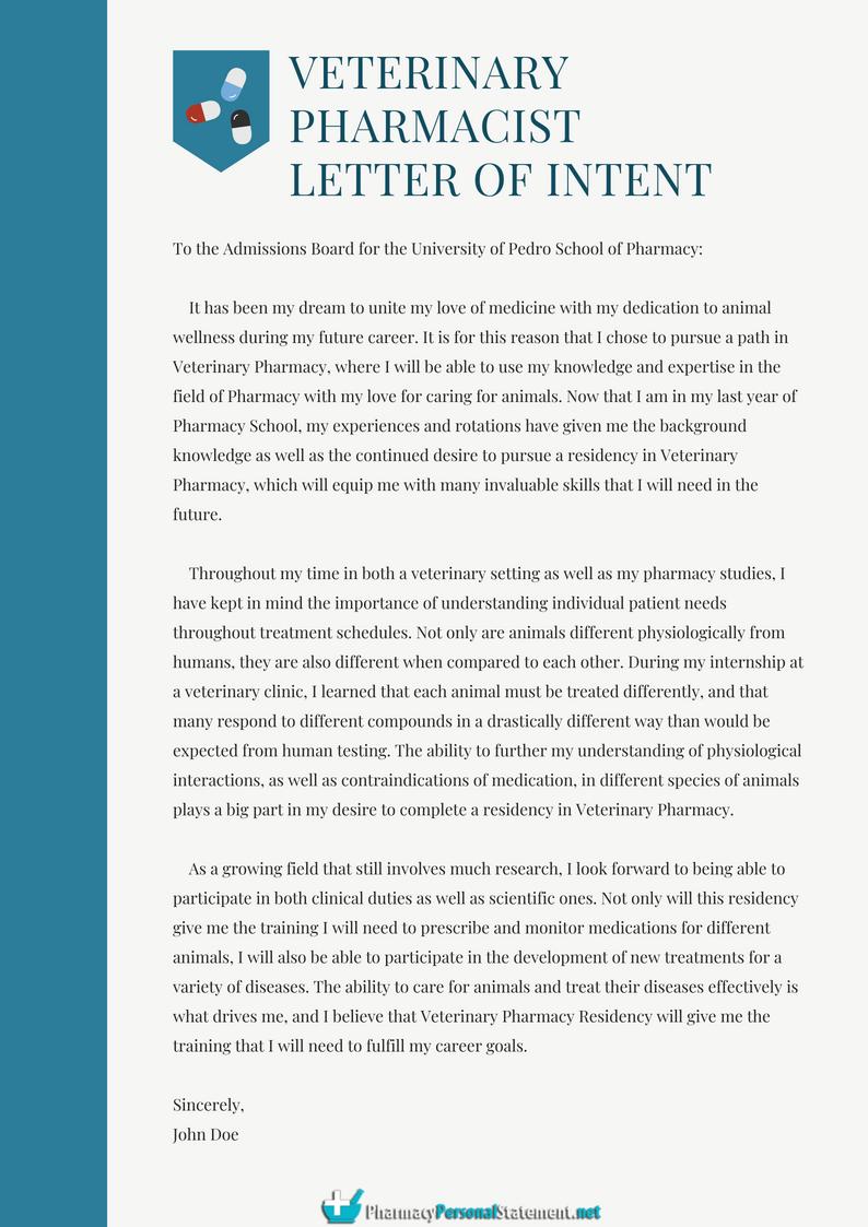 How to Write Veterinary Pharmacist Letter of Intent http
