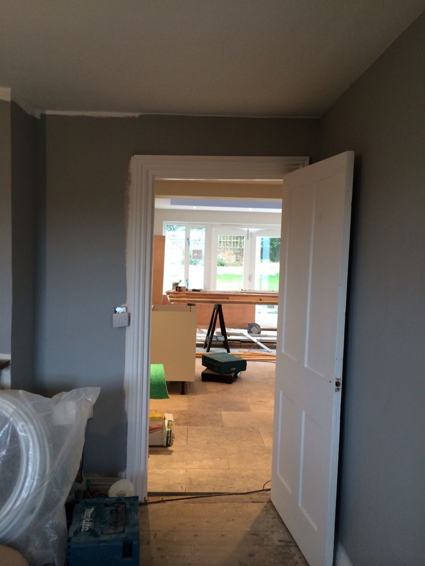 Dulux Dove Slate Lounge Looking Into Kitchen