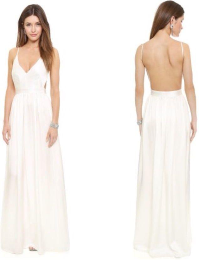 2015 White Prom Dresses Spaghetti Straps V Neck Backless Chiffon ...