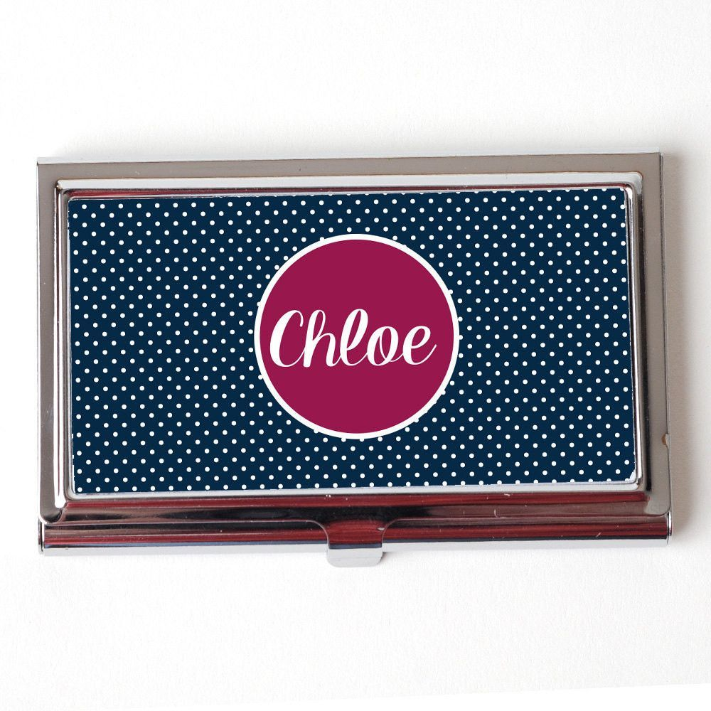 Personalized Business Card Case - Navy Blue & Plum Business Card ...