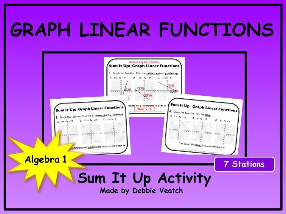 Graph Linear Functions Sum It Up Activity Graph Linear Equations