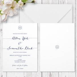 navy and white modern script wedding invitation with monogram