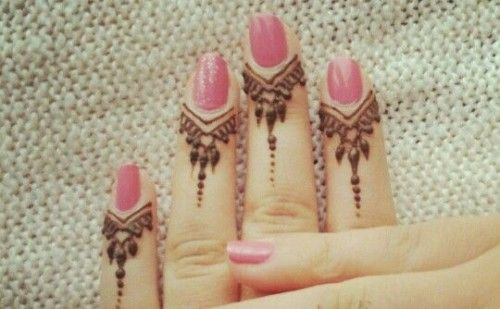 Mehndi Designs In Fingers : Dripping shapes from nail pretty mehndi designs for fingers