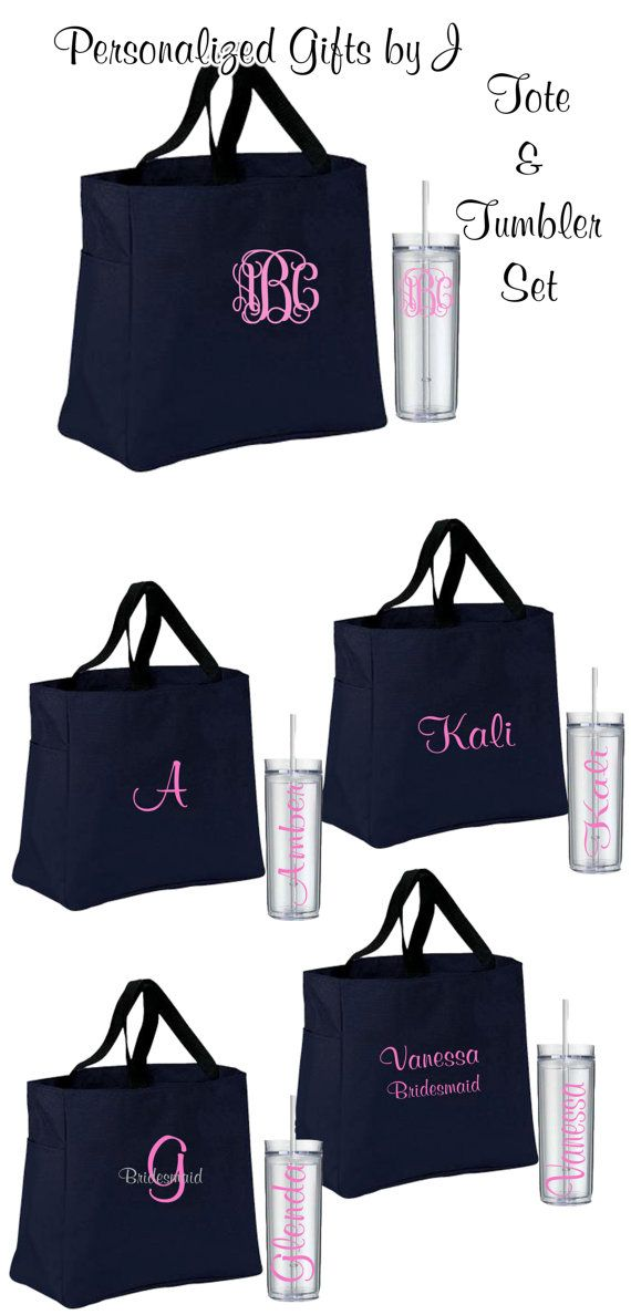 2 Bridesmaid Tote And Tumbler Sets Totes Bridesmaids Tumblers Wedding Monogrammed Gifts