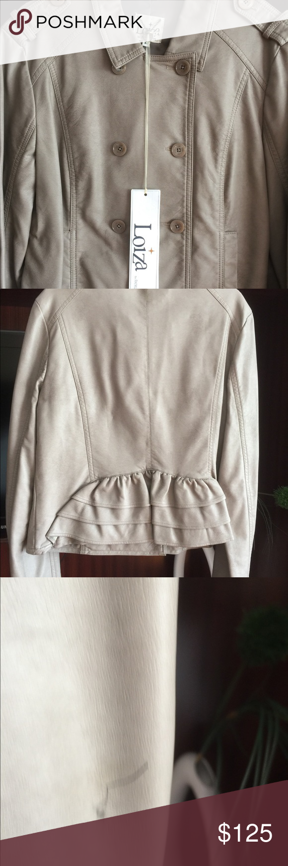 LOIZA by Patrizia Pepe Women s Jacket Size44 Very beautiful fancy Jacket.  100% polyester Hand wash .Color-Misty beige . On one sleeve a small line of  pens. 8bf926d440