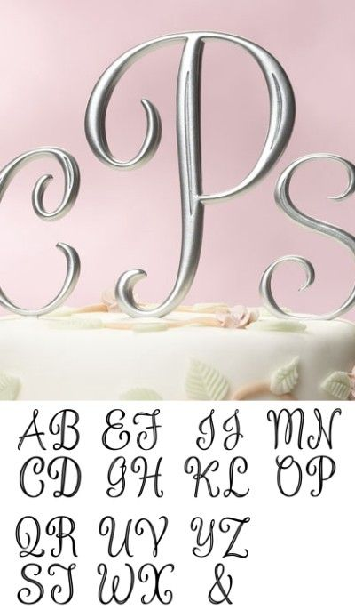 Silver Monogram Cake Topper Letters Large Cake Toppers