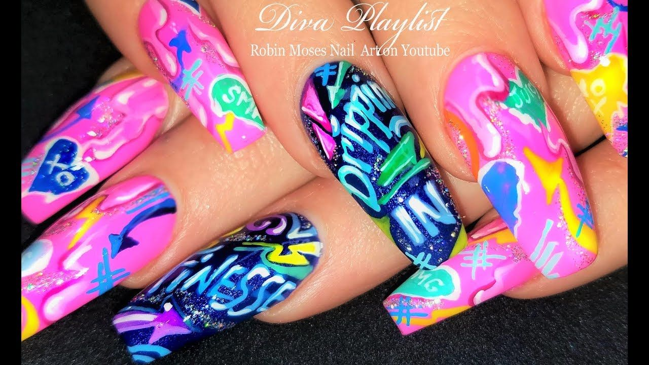 Melting Hearts A 90 S Retro Cardi B Drippin In Finesse Inspired Nail Colorful Nail Designs Nail Designs Retro Nails