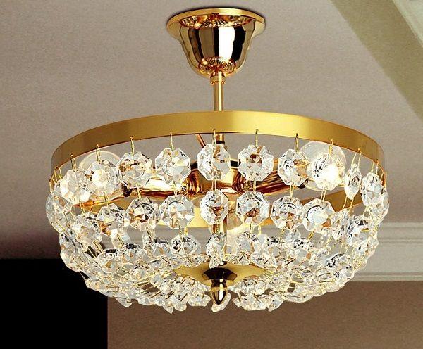 Plafoniere Vetro Trasparente : Plafoniera in vetro. struttura metallo colore oro 24k e vetro