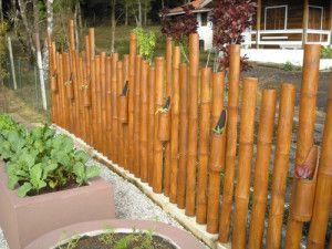 Cerca con floreros de bambu jardines balcones terrazas - Cercas para jardin ...