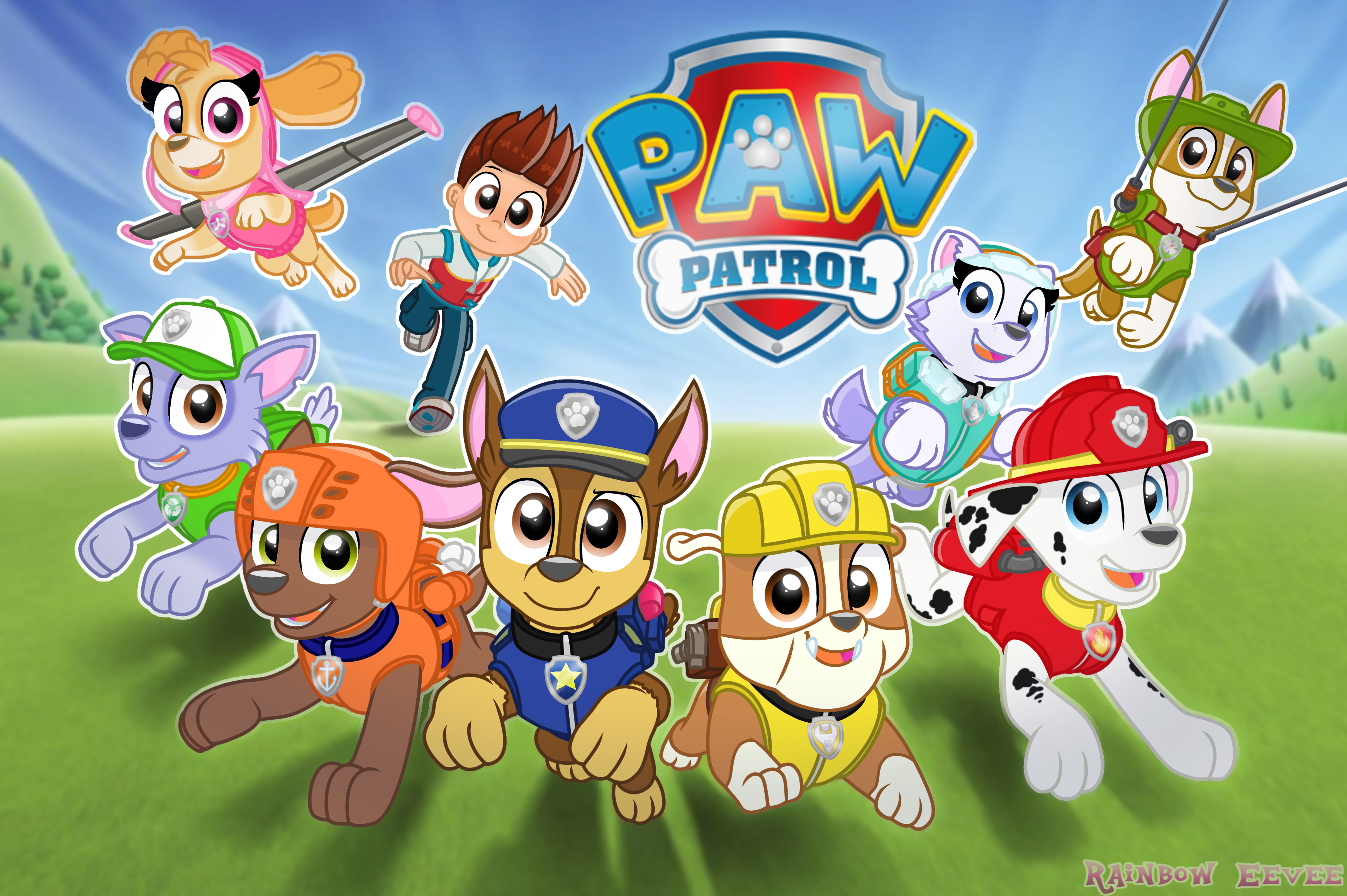 Paw Patrol Rainbow Eevee Wallpaper Poster By Rainboweeveede On Newgrounds Eevee Wallpaper Paw Patrol Action Wallpaper