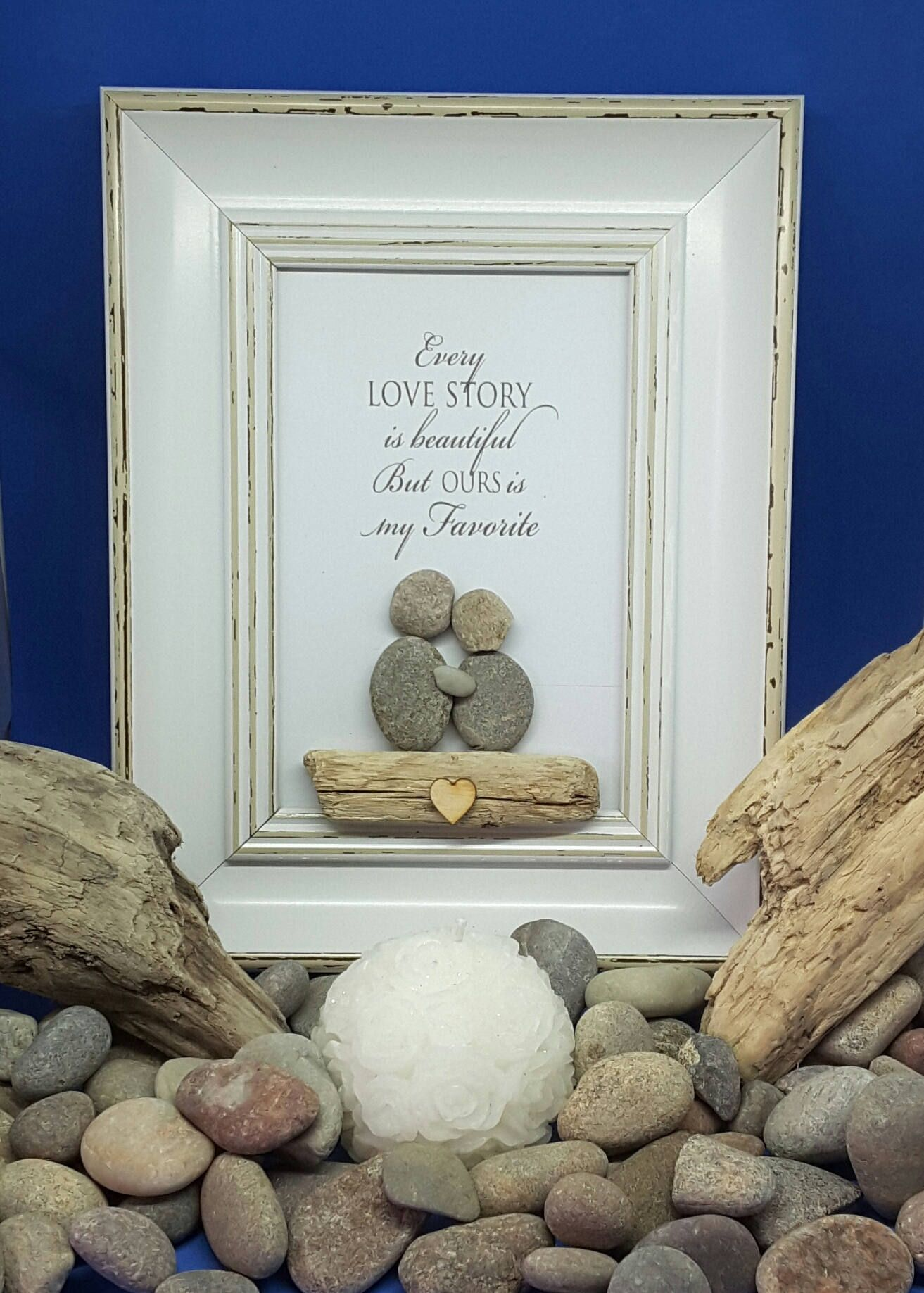 Anniversary Gifts Love Story 5th Wedding S Engagement Pebble Art Picture Frame Handmade Gift For Wife