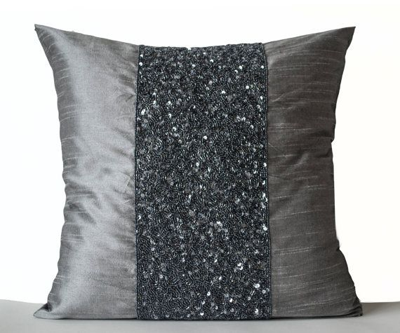 Grey beaded pillow on grey art silk with intricately embroidered beads and sequin. This grey throw pillow is an artistic expression. The