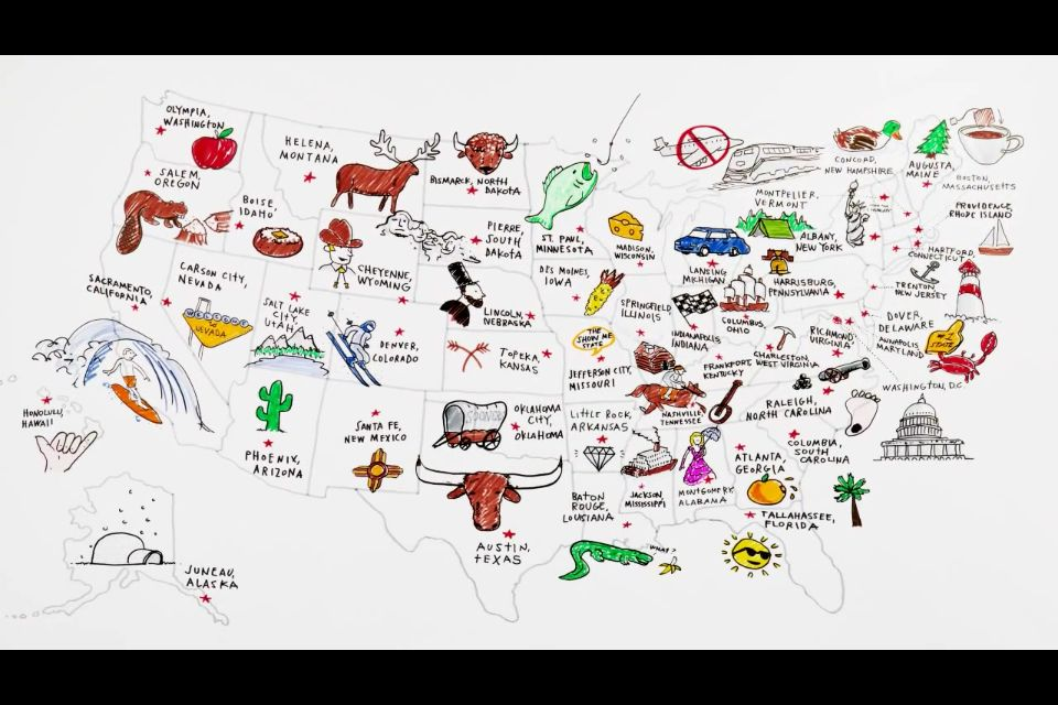 Usa State Capitals In Drawings On Youtube Tour Of The States