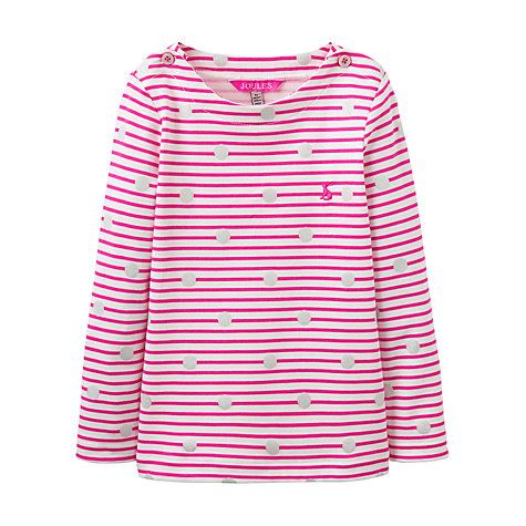 Buy Little Joule Girls' Harbour Striped Long Sleeve Top, Pink Online at johnlewis.com