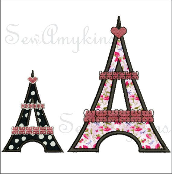 Eiffel Tower Embroidery Design 4x4 5x7 295 Embroidery Machine