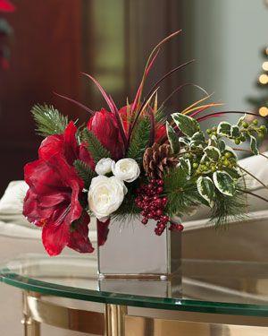 Amaryllis Hollysilk Flower Accent Christmas Floral Arrangements Silk Flower Arrangements Christmas Floral