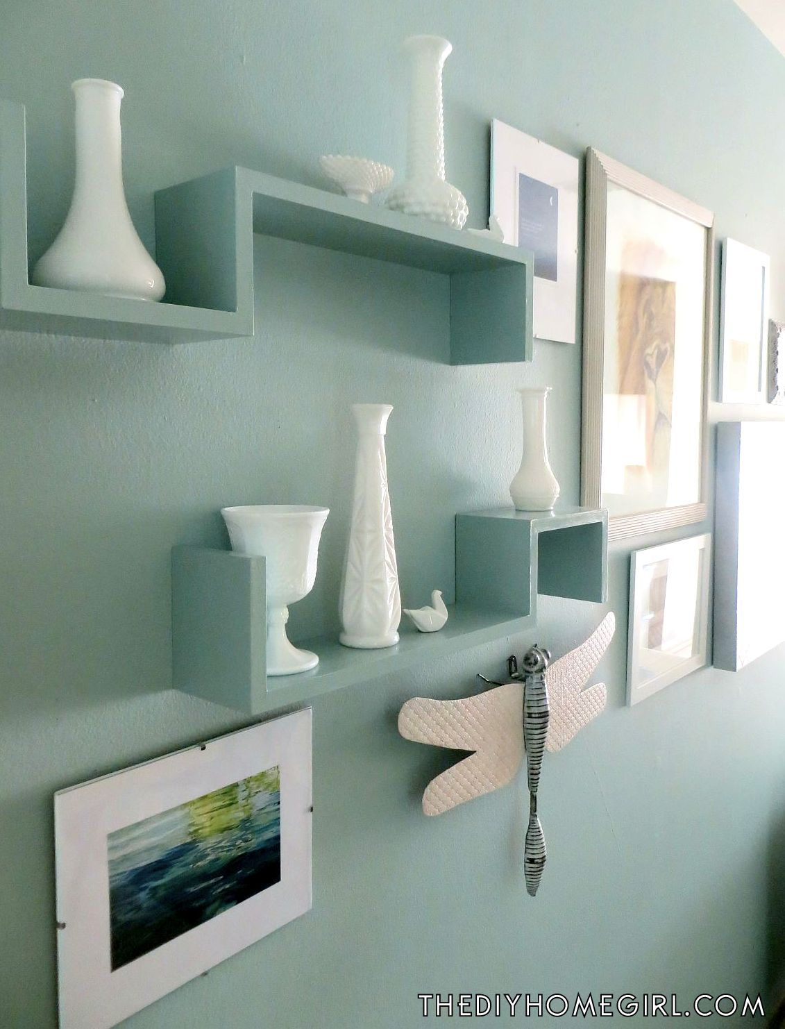 Aqua Painted Shelves Opal Silk Behr Vintage Milk Glass Living Room Gallery Wall 5 Tips For