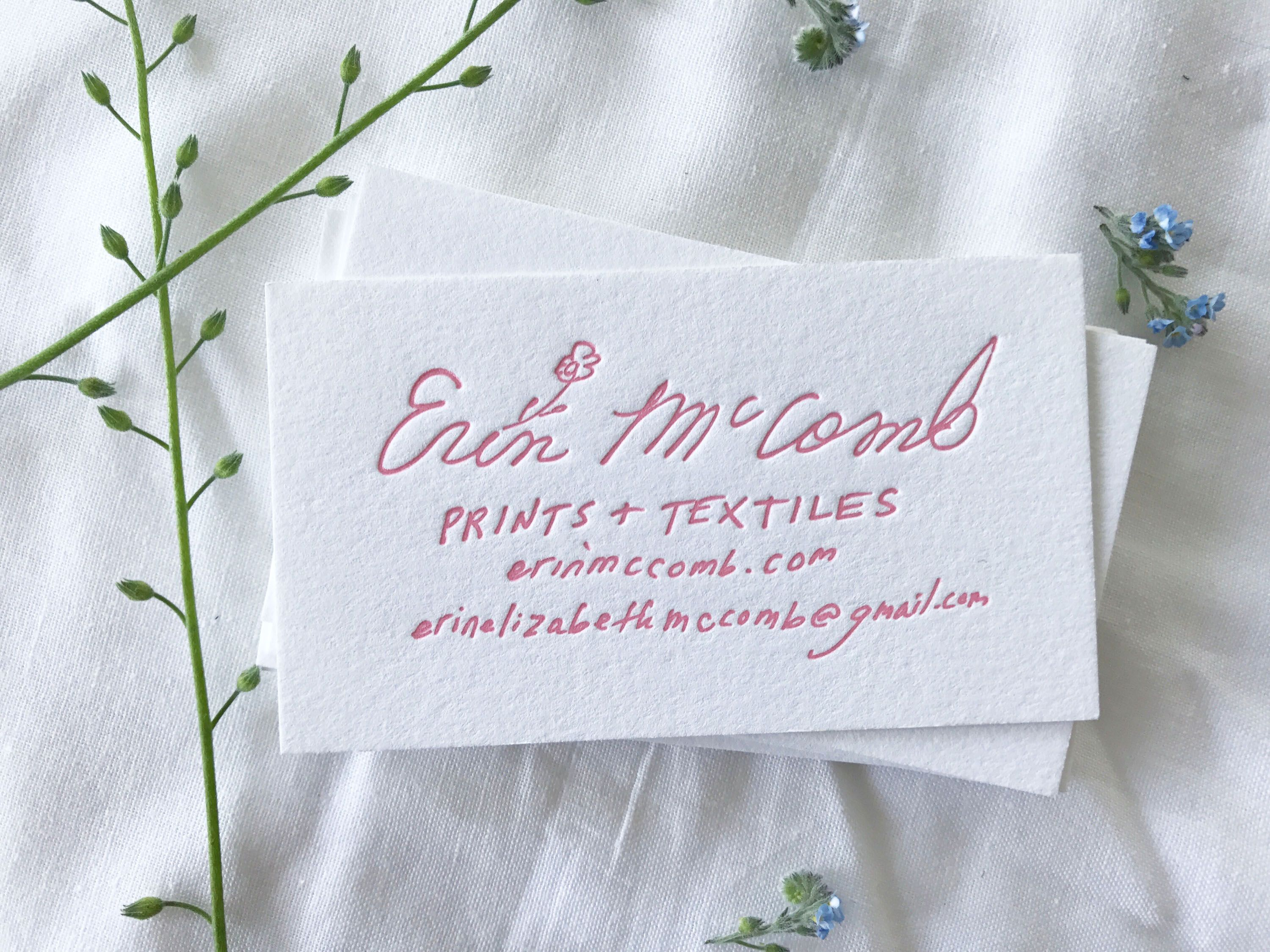 Artist Erin McComb\'s #Letterpress #BusinessCard designed by The ...