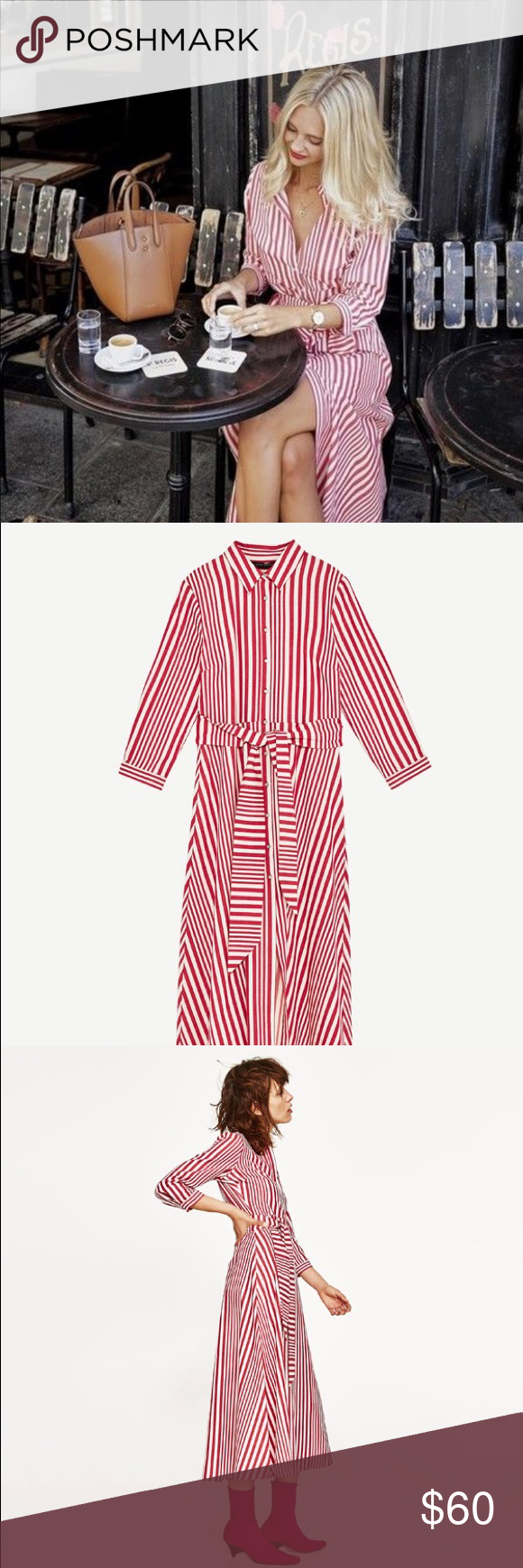 09fc0882 NWT Zara Red White Striped Midi Shirt Dress Long, striped tunic with long  sleeves and