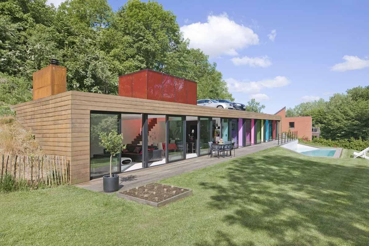 Maison bois semi-enterrée par l\'architecte Stéphane Dortu - Belgique ...