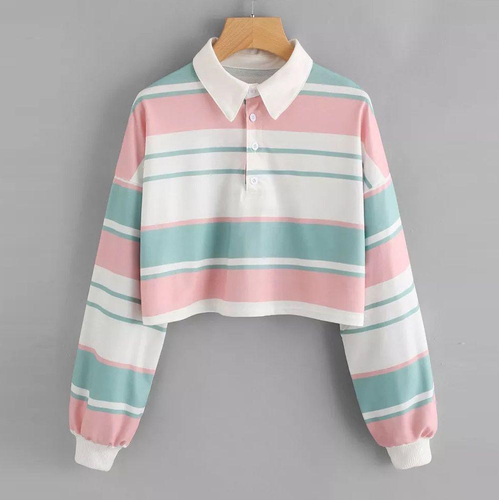 ALijET Drop Shoulder Striped Crop Pullover Sweatshirt Top Sweet Women