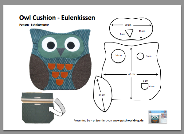 Owl Cushion Pattern / Eulenkissen-Schnittmuster als PDF-Datei #patchwork #diy