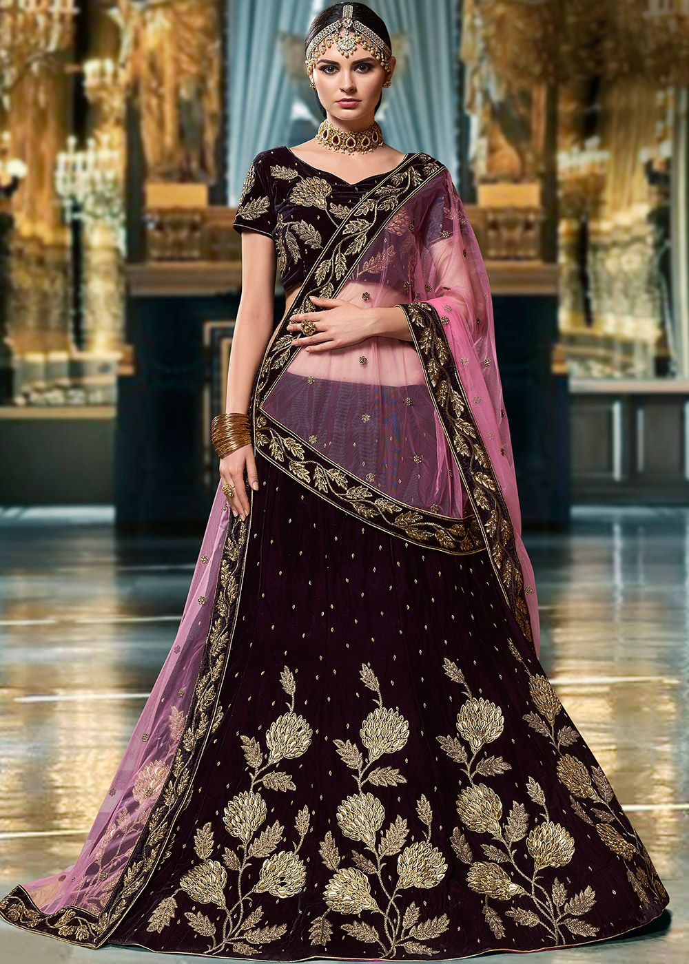 a5fb3bfcd6 Panash Lehenga - Buy Dark Purple Embroidered Velvet Lehenga Choli online,  Work: Beads Work, Sequins, Stone Work, Zari, Color : Purple, ...
