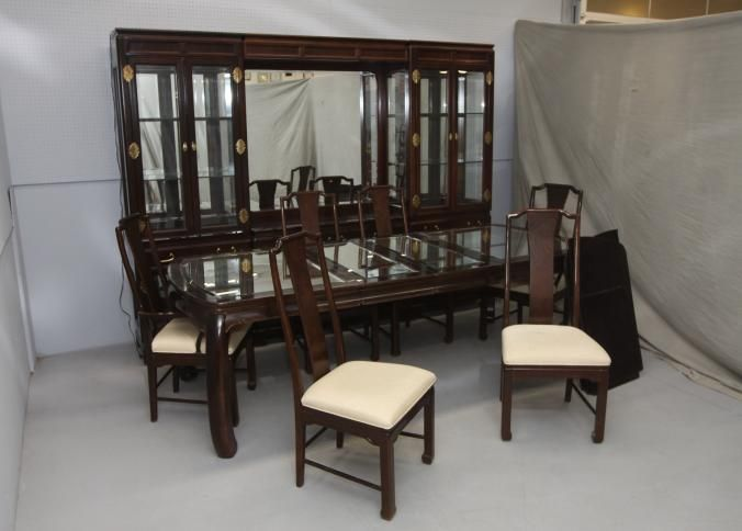 American Of Martinsville Dining Room Set With Five Part Mirrored Back Hutch  Having Ten Doors,