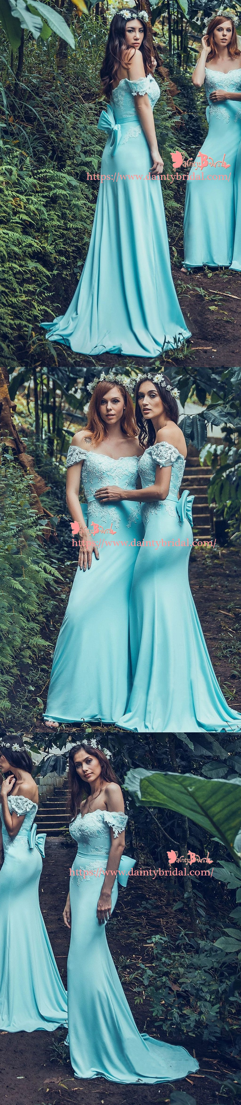 Off shoulder charming blue with bowknot sash lace appliques mermaid
