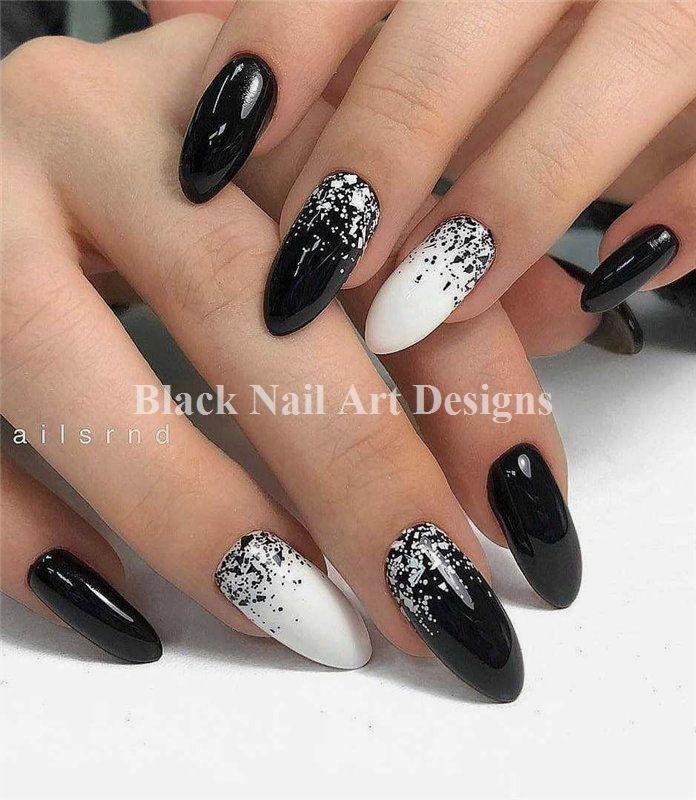 60+Trendy Black Nails Designs Inspirations 2019 #nailartdesigns