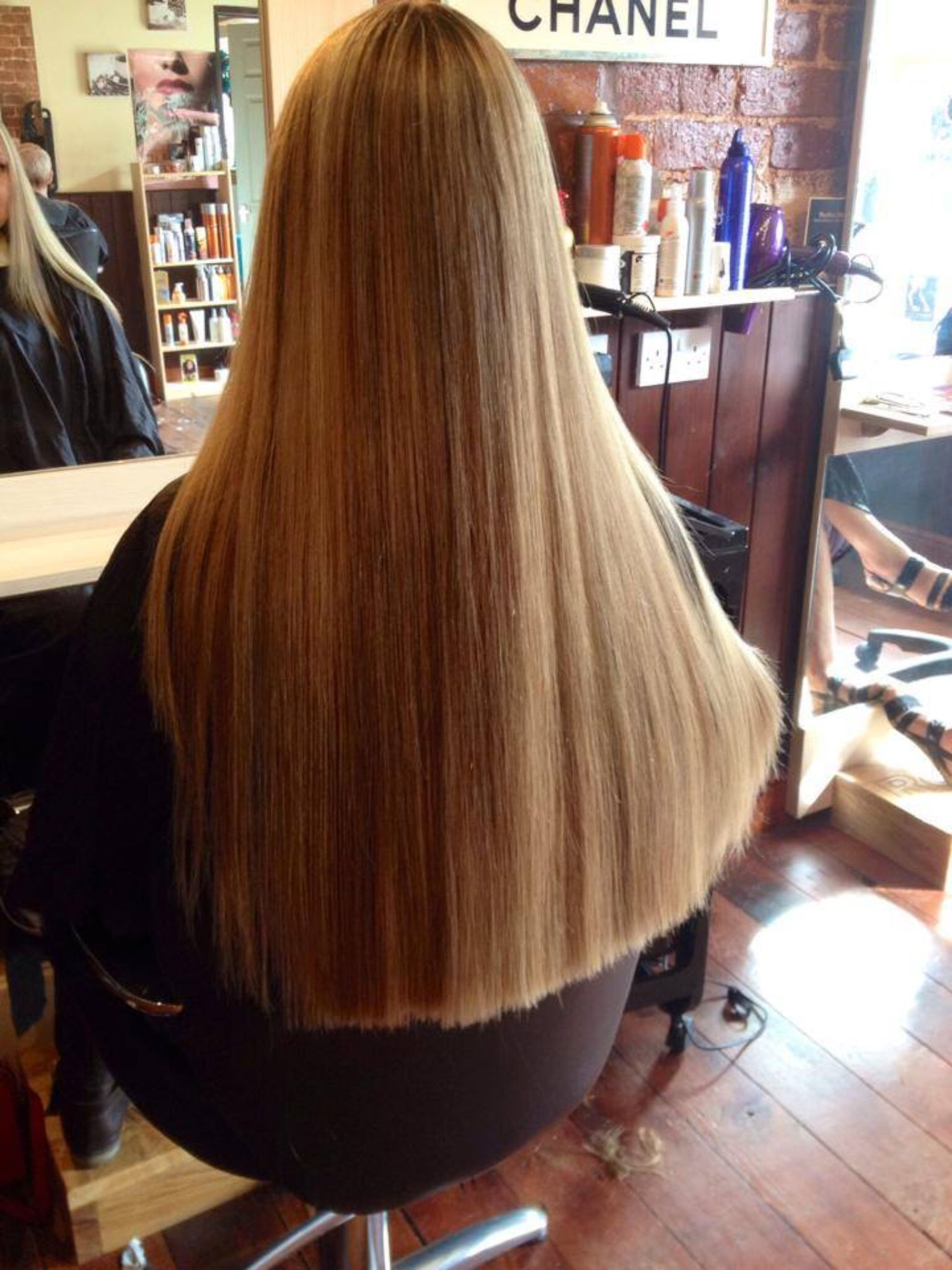 Blonde And Caramel Long Hair Getting Ready In The